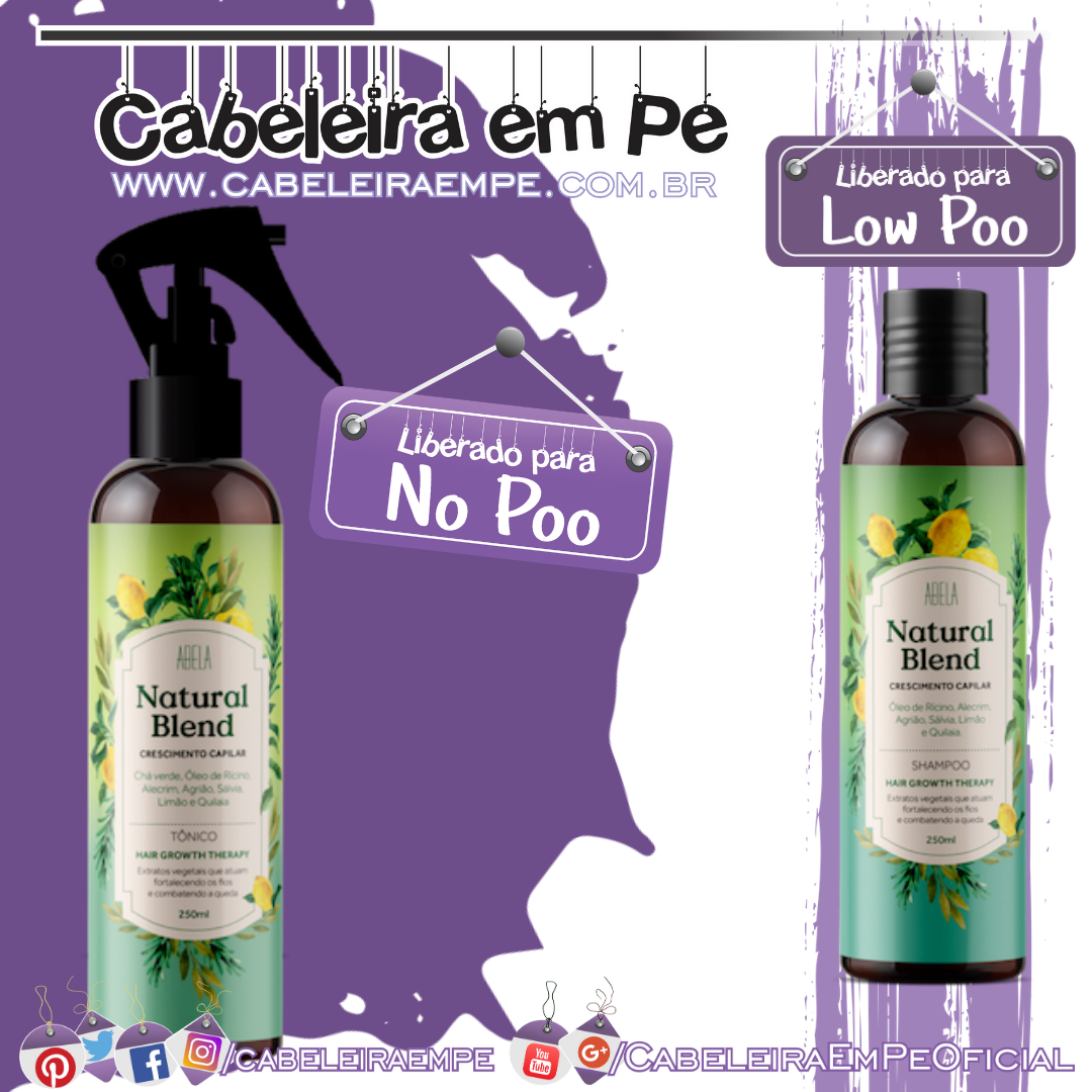 Shampoo (Low Poo) e Tônico (No Poo) Natural Blend Crescimento - Abela Cosméticos