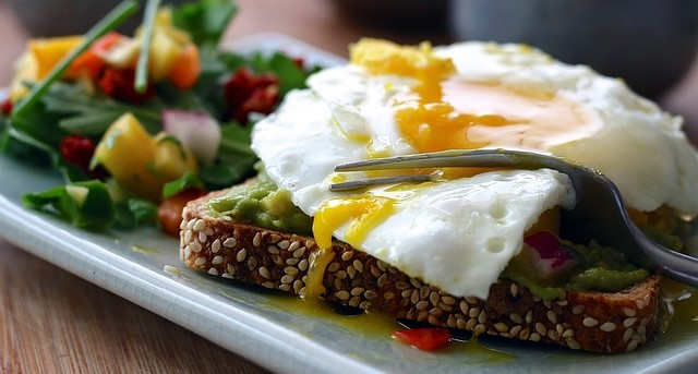 Egg on Avocado Toast and Salad