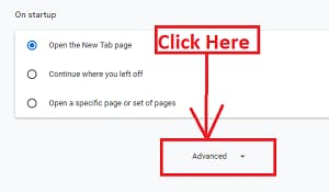 Click on Advanced option of chrome browser to reset