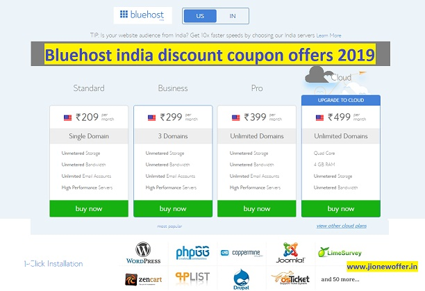 Bluehost india discount coupon offers 2019