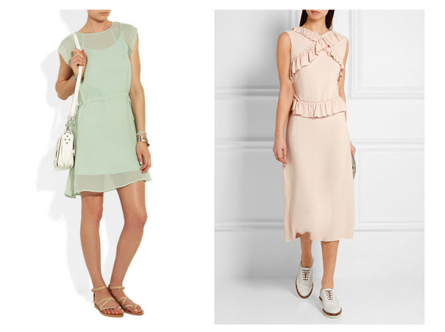 Мятное и пастельное розовое платья