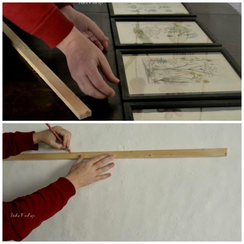 Un antes y un después de un rincón de nuestra sala de estar, haremos una bonita composición de cuadros con grabados antiguos de botánica