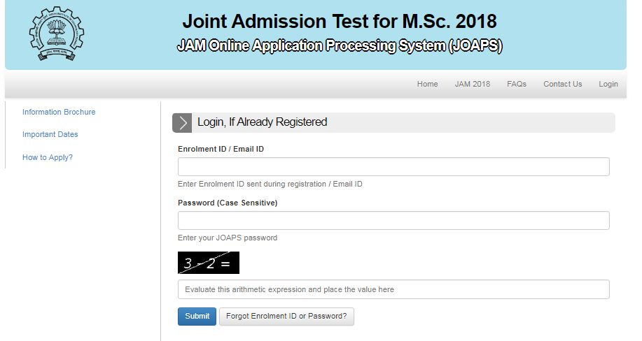 Indian Institute Technology IIT JAM Admit Card 2018