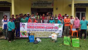 Cegah Corona, Desa Sungai Keruh Semprot Disinfektan Keliling Dusun