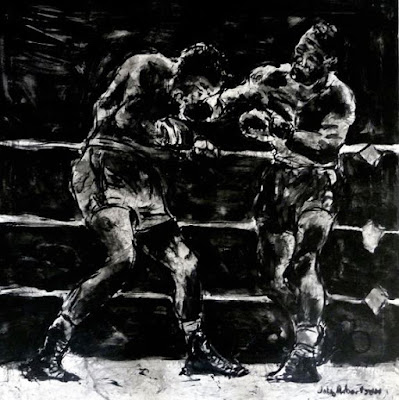 Boxing art painting of boxers In the ring painted in black and white.