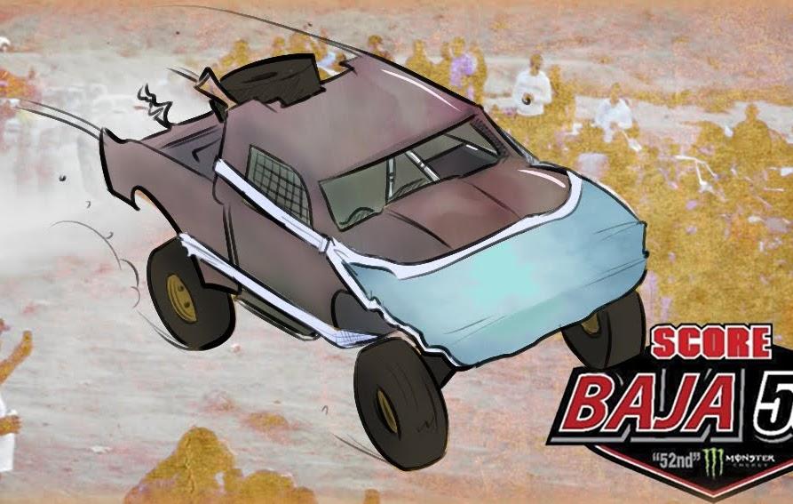caricatura de un vehículo de las carreras off road, fuera de camino.