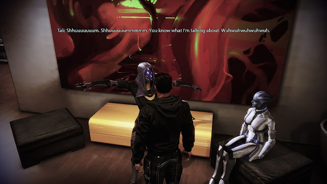 A drunk Tali at the party in the Mass Effect 3 Citadel DLC