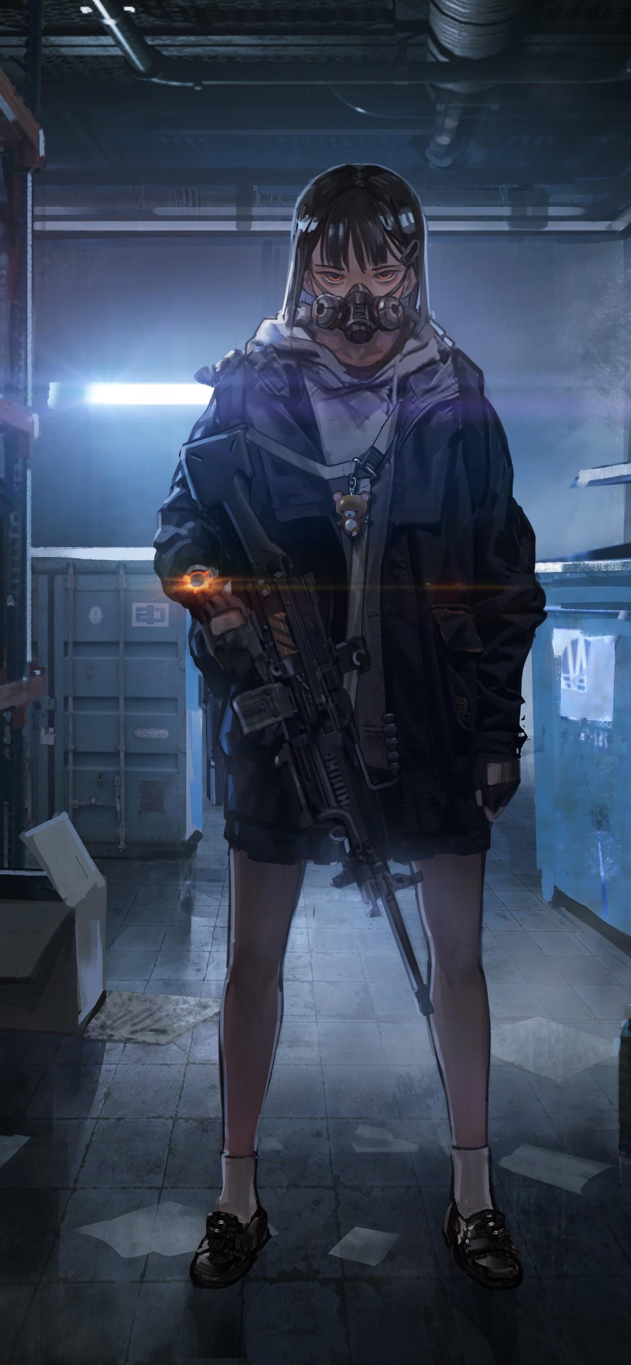 Anime Girl Gas Mask Rifle 8k Wallpaper 178