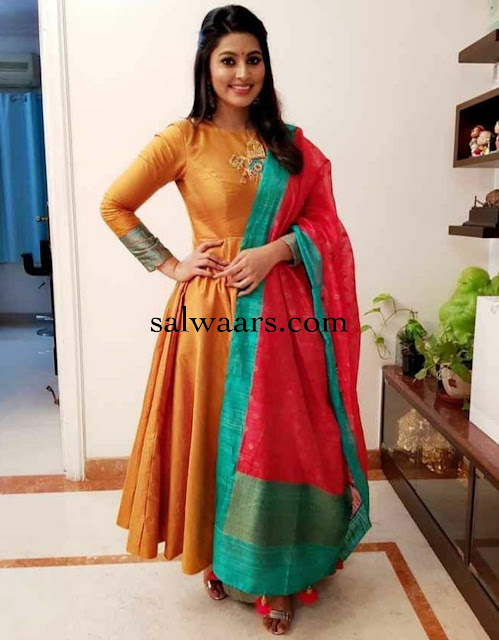 Sneha in Mustard Yellow Silk Salwar Kameez
