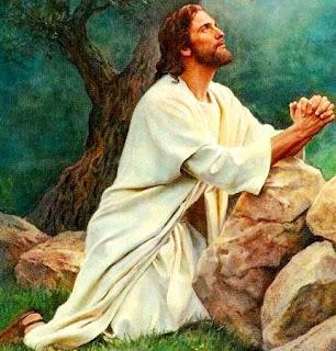 Dibujo de Jesús orando o rezando a Dios