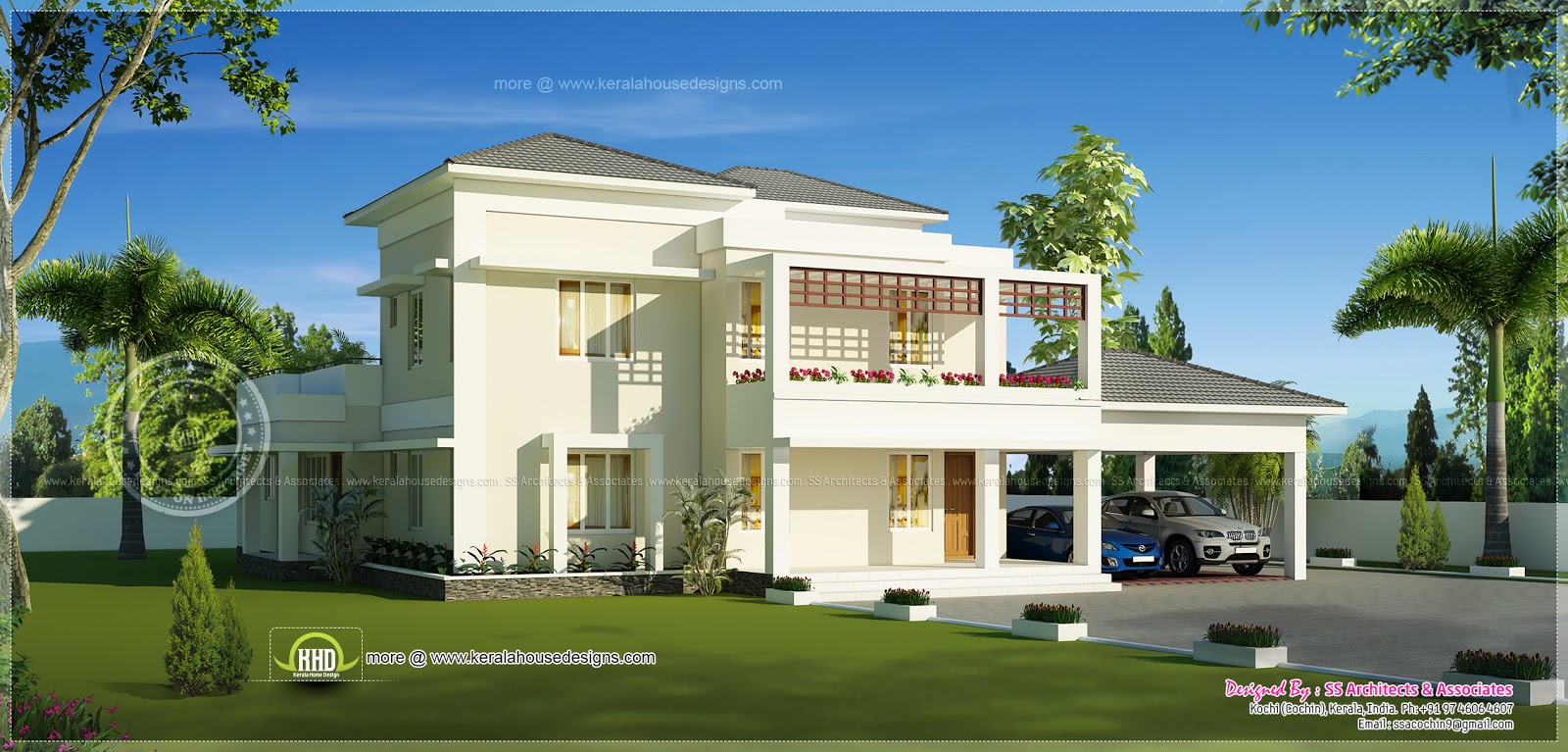 Beautiful double storey modern villa exterior kerala for Exterior villa design photo gallery