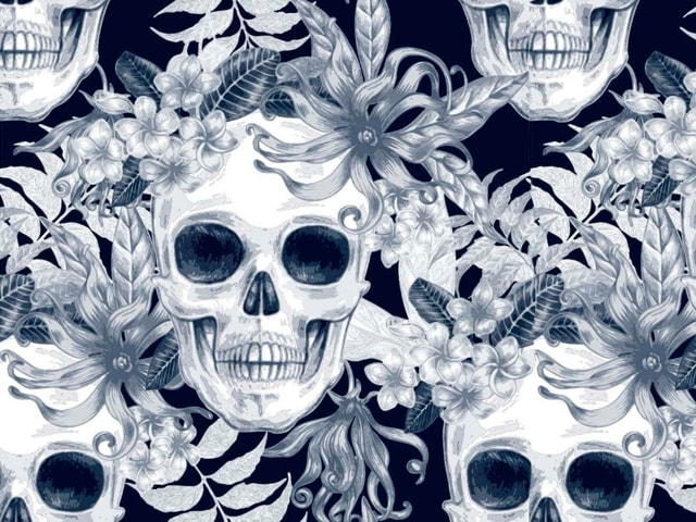 papel-de-parede-caveira-floral