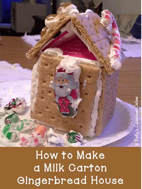 Learn how to make little gingerbread houses out of milk cartons, graham crackers, royal icing, and holiday candies. Perfect for your class's Christmas parties!  #kellysclassroomonline