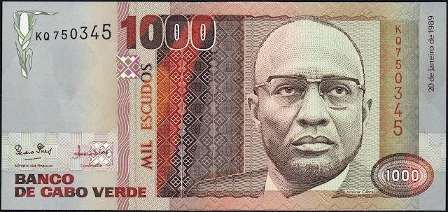 Currency of Cape Verde 1000 Escudos banknote 1989 Amilcar Cabral