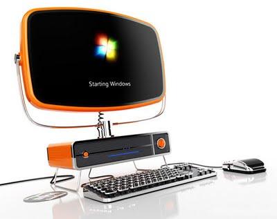 Computadora con estilo retro