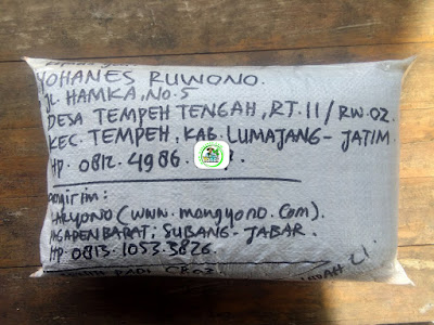 Benih Padi yang dibeli     YOHANES RUWONO Lumajang, Jatim.    (Setelah packing karung).