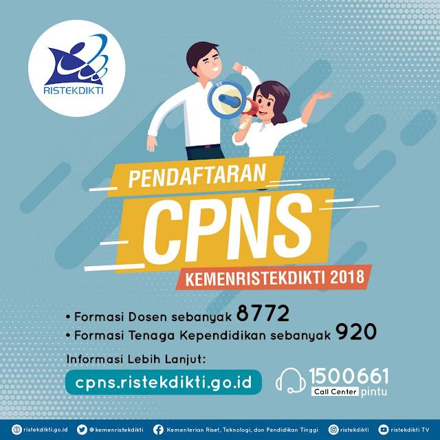 Pendaftaran CPNS Kemenristekdikti Tahun 2018