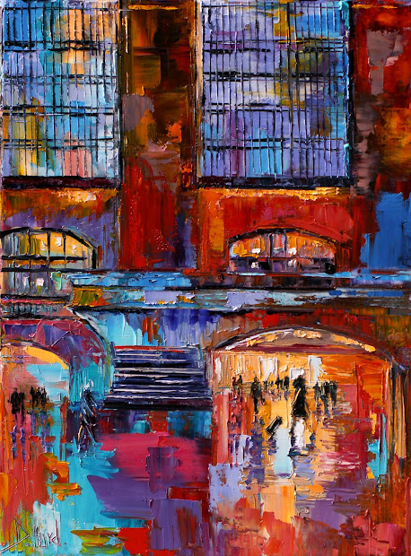 Daily Painters Abstract Cityscape York City Grand Central Urban Paintings