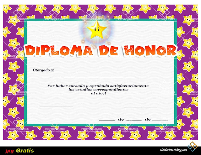 Plantilla para diploma de honor con temática de Super Mario Bros
