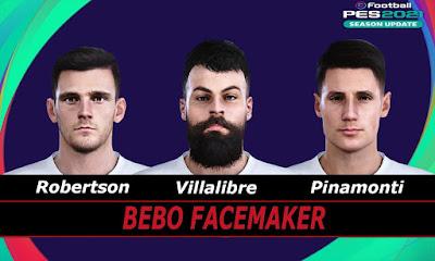 PES 2021 Faces Pinamonti & Robertson & Villalibre by Bebo