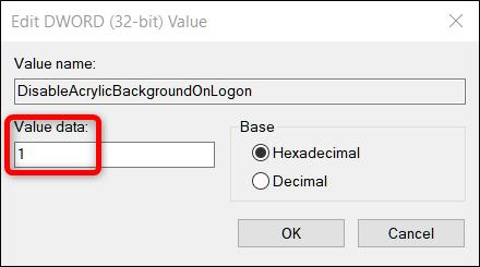 انقر نقرًا مزدوجًا فوق القيمة الجديدة التي أضفتها ، ثم قم بتغيير حقل بيانات القيمة من 0 إلى 1