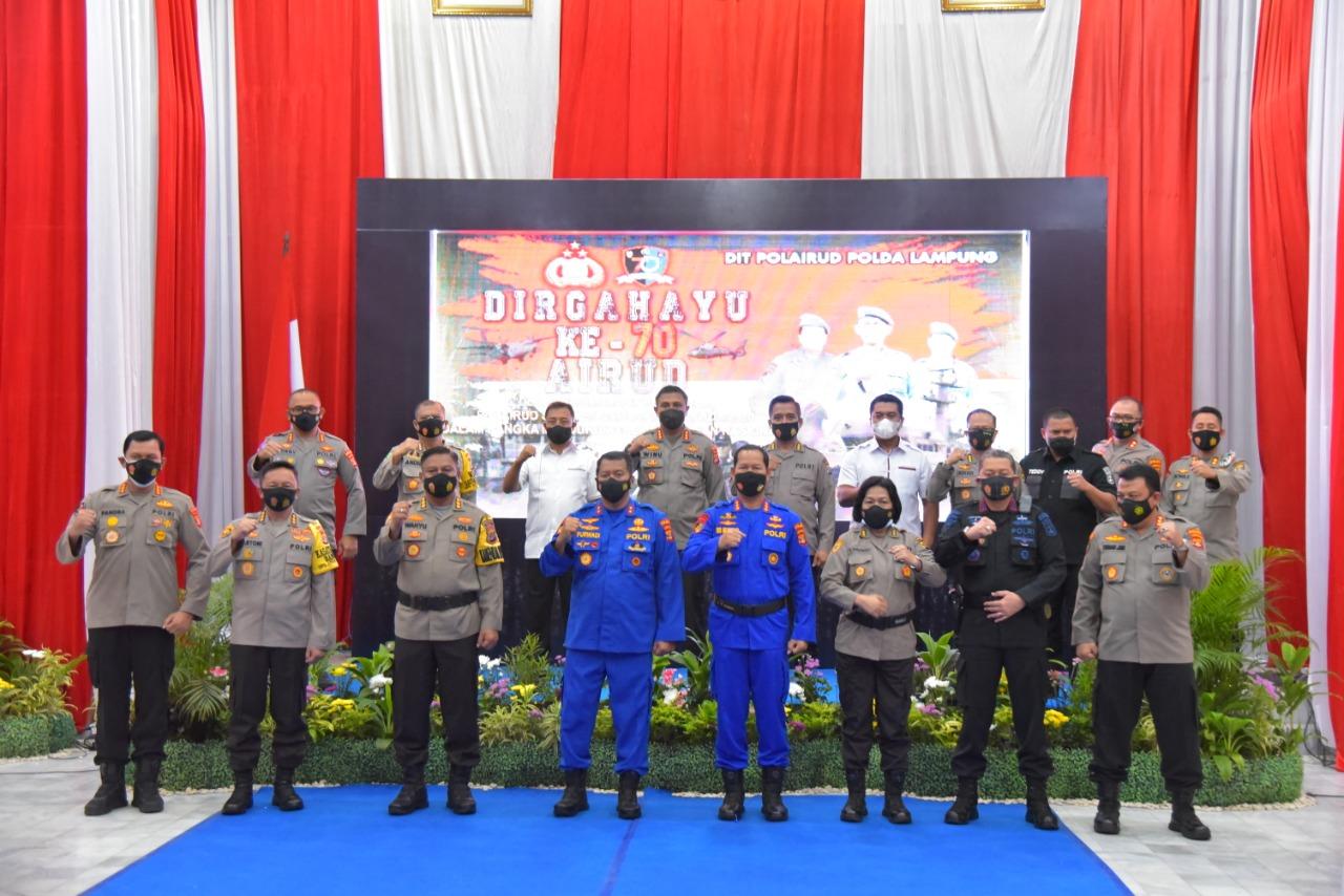 Hut  ke 70 Ditpolairud polda Lampung ,laksanakan syukuran dan tabur bunga