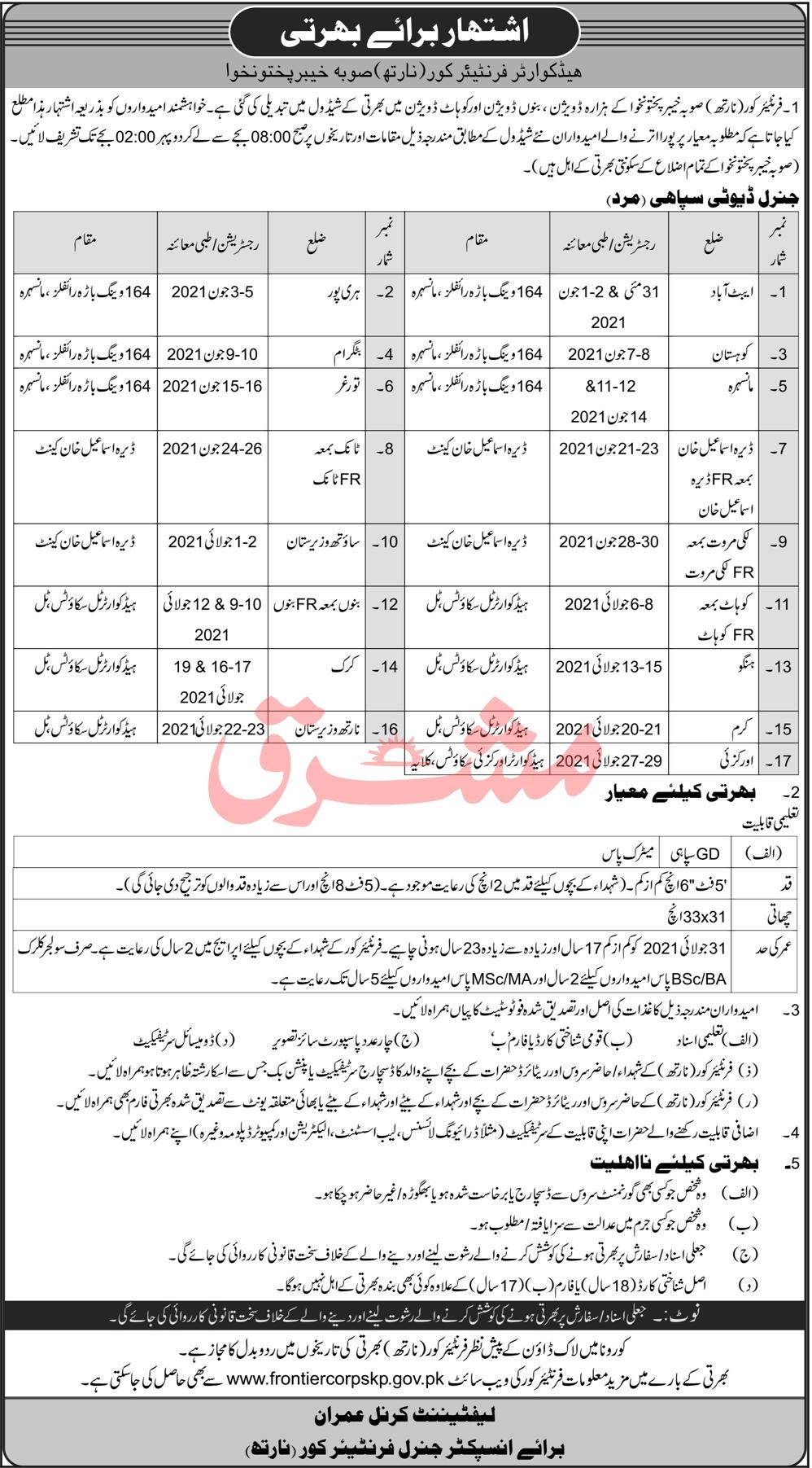 www.frontiercorpskp.gov.pk Jobs 2021 - Frontier Corps (North) Jobs 2021 in Pakistan