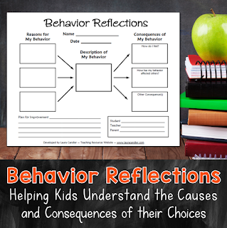 Best classroom management tool ever! This Behavior Reflections freebie is a great way to handle student misbehavior. Having kids fill out this graphic organizer helps them understand why they engage in disruptive behaviors as well as the consequences of their choices and actions.