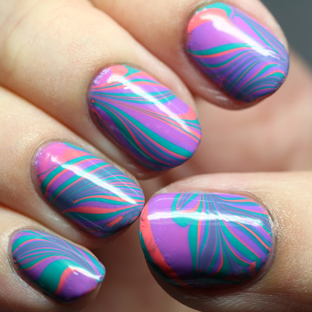 Powder Perfect Bermuda Triangle Collection water marble nail art