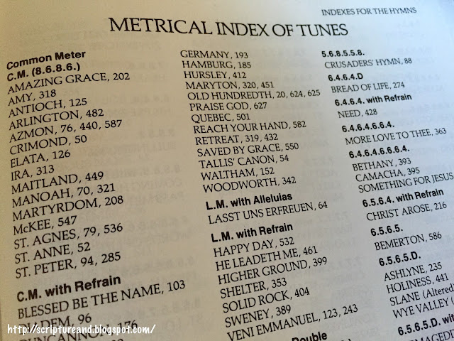 A Metrical Index of Hymns | scriptureand.blogspot.com