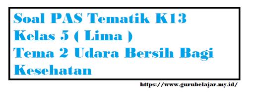 Soal PAS K13 Kelas 5 Tema 2 Udara Bersih Bagi Kesehatan
