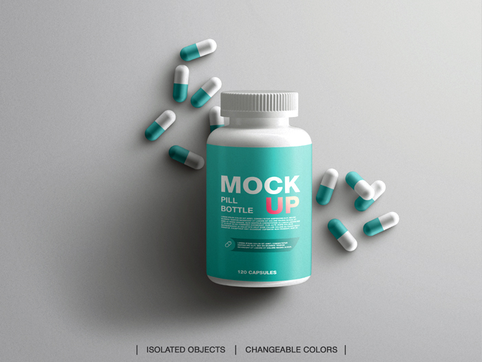 Medicine Health Branding Vitamins Pill Plastic Bottle Mockup