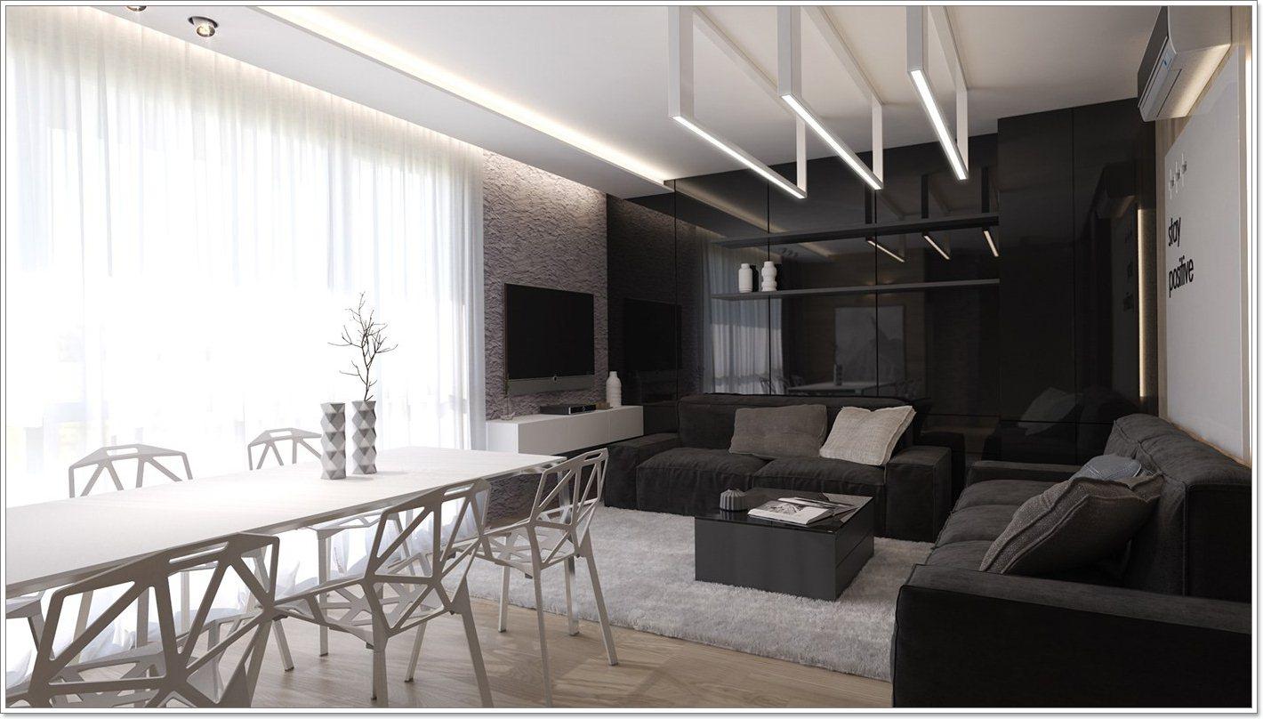 Merk hvordan media området inkluderer plysj svart sofaer og en blank ...