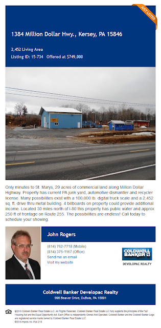 1384 MILLION DOLLAR HIGHWAY KERSEY PA ELK COUNTY RECYCLING,INC John Rogers Coldwell Banker Developac Realty For Sale