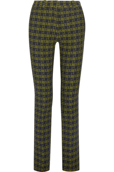 Green Jacquard Print Slim-leg Pants