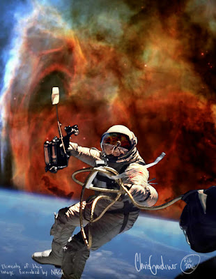 Composite image from NASA elements of Ed White's First Space Walk in 1965 and a Deep Space Nebula from the Hubble Telescope
