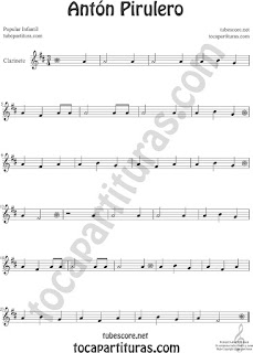Clarinete Partitura de Antón Pirulero Sheet Music for Clarinet Music Score