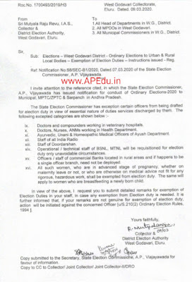 West Godavari - Ordinary Elections to Urban & Rural Local Bodies - Exemption of Election. Duties Instructions Issued ROC.No:1700493