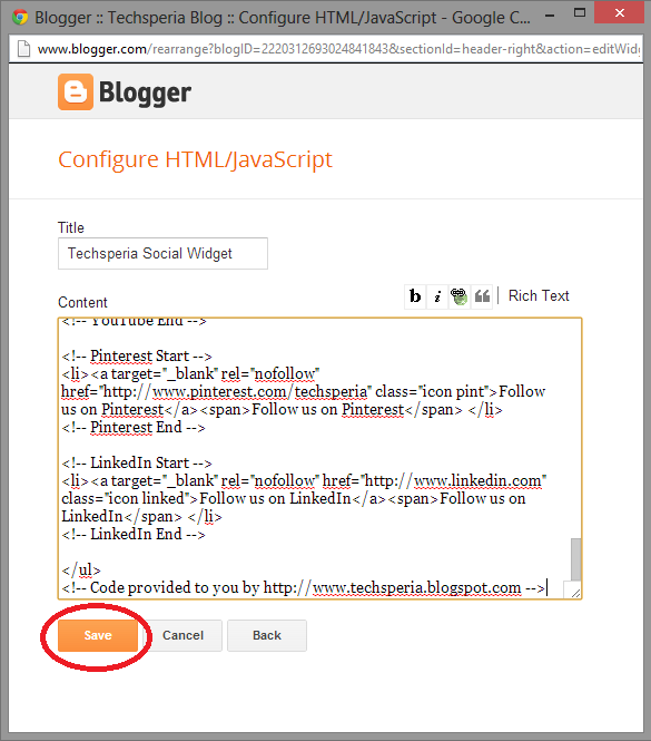 Blogger Configure Gadget And Save
