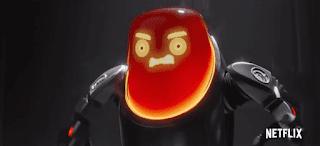 Imagen promocional de un robot malo, enfadado, con la cabeza roja