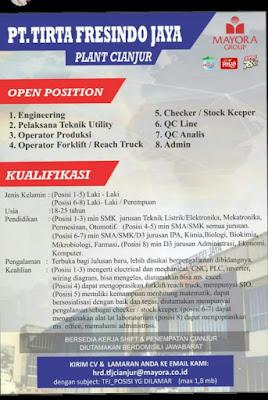 Lowongan PT.Tirta Fresindo Jaya Cianjur 2020 untuk posisi operator produksi