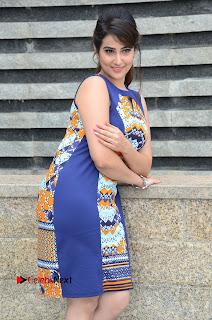 Actress Anchor Manjusha Pictures in Blue Short Dress at Jaguar Movie Success Meet .COM 0083.jpg