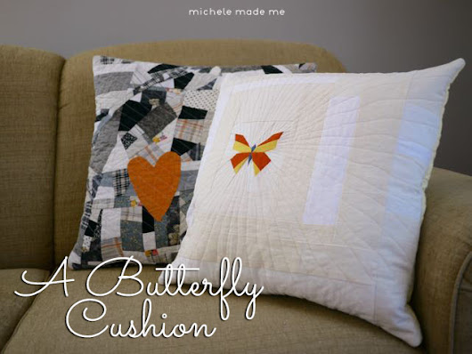 A Quilted Double-Sided Butterfly Cushion