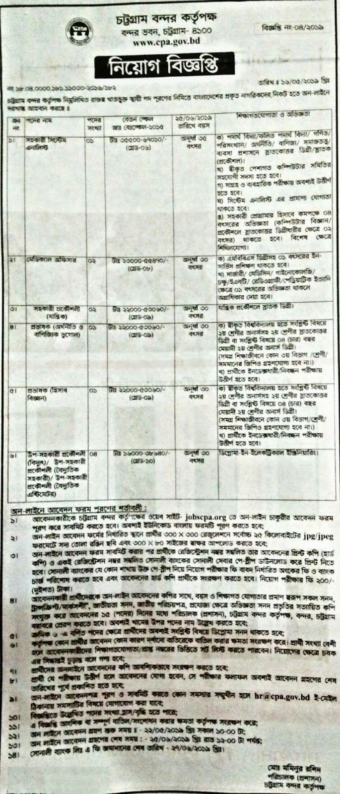Chittagong Port Authority new job circular 2019. চট্রগ্রাম বন্দর কতৃপক্ষ নতুন নিয়োগ বিজ্ঞপ্তি ২০১৯