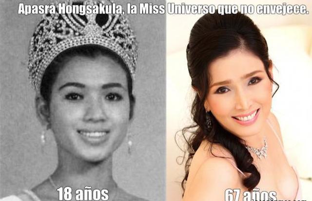 Ex Miss Universo tailandesa Apsara Hongsakula 67 año y aparenta de 25