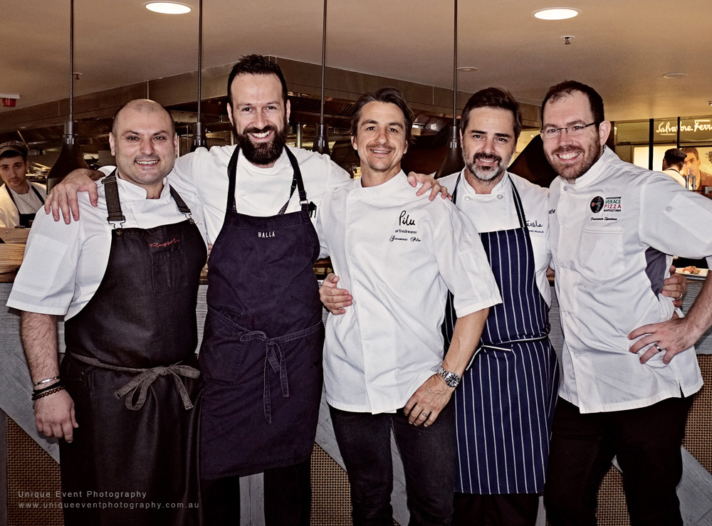 Oro Rosso Luncheon's Italian Chefs, Danny Russo, Gabriele Taddeucci, Giovanni Pilu, Eugenio Maiale, Francesco Spataro. Food event photographed by Unique Event Photography Sydney.