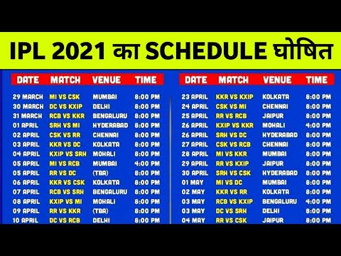 BCCI announces schedule for VIVO IPL 2021 जाने कब और कहा होगा IPL 2021 का मैच