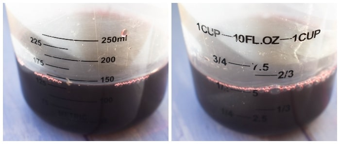 red wine in a measuring jug