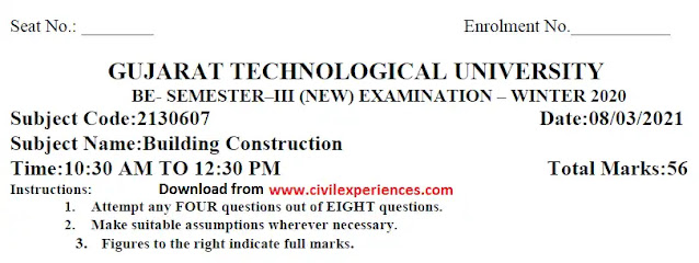 Building Construction GTU Exam Paper Download | 2130607 GTU Previous Question Paper PDF Download