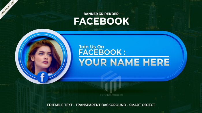 Follow Us Facebook Social Media Square Banner With 3D Logo Link Profile Box 2